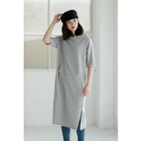 【AZUL by moussy】サイドスリット5分袖ワンピース T.GRY