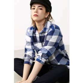 【AZUL by moussy】ブロックチェック長袖シャツ 柄NVY