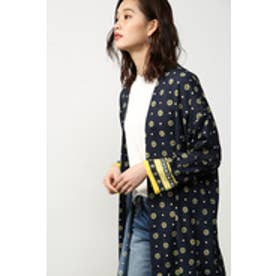 【AZUL by moussy】小紋花柄コーディガン 柄NVY