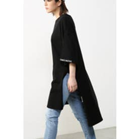 【AZUL by moussy】26/-綿天竺袖刺しゅうチュニックTee BLK