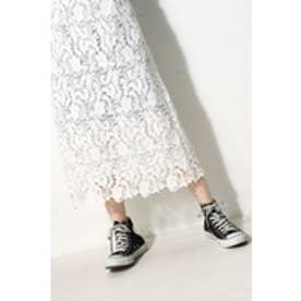 【AZUL BY MOUSSY】コットンレースミディスカート O/WHT