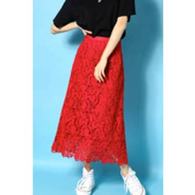 【AZUL BY MOUSSY】コットンレースミディスカート RED