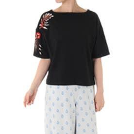 【AZUL BY MOUSSY】刺繍5分袖プルオーバー BLK