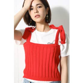 【AZUL by moussy】リブニットリボンcami RED