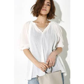 【AZUL BY MOUSSY】衿ギャザースキッパーブラウス O/WHT