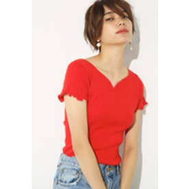 【AZUL by moussy】ハートネック半袖ニットプルオーバー RED