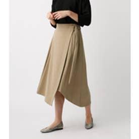 《WEB限定サマーセール》【AZUL BY MOUSSY】ラップヘムミディスカート BEG