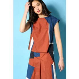 《WEB限定サマーセール》【AZUL BY MOUSSY】ジオメトリック柄TOPS 柄NVY