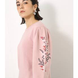 【AZUL BY MOUSSY】刺繍入りクルーネックプルオーバー L/PNK