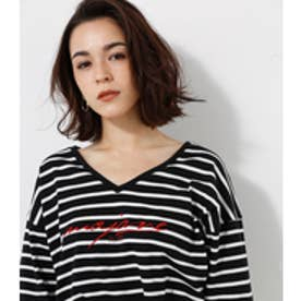 【AZUL BY MOUSSY】2WAY刺繍筆記体ロゴ七分袖ゆるプルオーバー 柄WHT