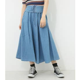 【AZUL BY MOUSSY】レースアップフレアスカート L/BLU