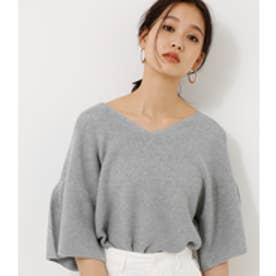【AZUL BY MOUSSY】フレア袖ガーター編み7分袖プルオーバー T.GRY