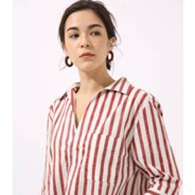 《WEB限定サマーセール》【AZUL BY MOUSSY】サイドスリットスキッパーシャツ 柄BRN