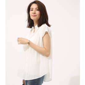 【AZUL BY MOUSSY】刺繍ストライプノースリシャツ WHT