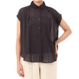 【AZUL BY MOUSSY】刺繍ストライプノースリシャツ BLK