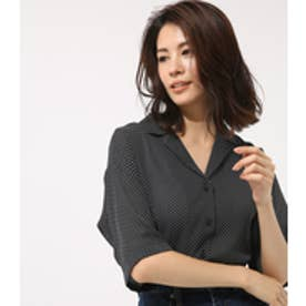 【AZUL BY MOUSSY】ドットオープンカラークロップドシャツ 柄BLK