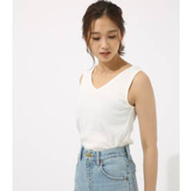 【AZUL BY MOUSSY】両Vカットリブタンク O/WHT