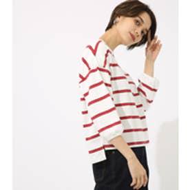 【AZUL BY MOUSSY】七分袖カラーボーダーカットプルオーバー 柄RED