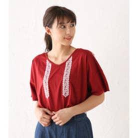 【ロコンド期間限定価格】アヴァンリリィ Avan Lily エンブロイダリーVネックT/S (RED)