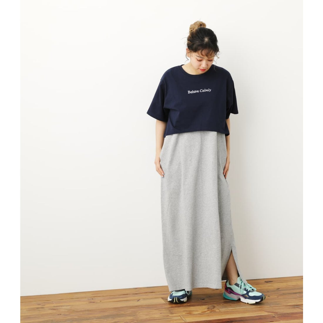 SunsetTシャツ&マキシワンピースセットWL NVY