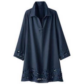 ベルーナ BELLUNA 袖&裾レース使いシャツチュニック (ネイビー)