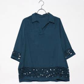 ベルーナ BELLUNA 袖&裾レース使いシャツチュニック (ターコイズ)