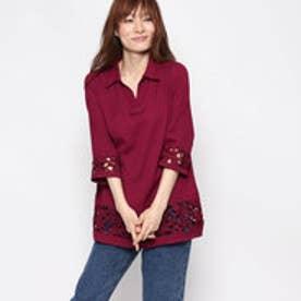 ベルーナ BELLUNA 袖&裾レース使いシャツチュニック (ラズベリー)