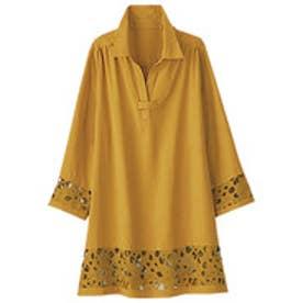 ベルーナ BELLUNA 袖&裾レース使いシャツチュニック (カラシ)