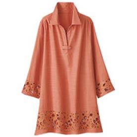 ベルーナ BELLUNA 袖&裾レース使いシャツチュニック (コーラル)