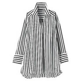 ベルーナ BELLUNA ロングカフスデザインシャツブラウス (オフ白×ネイビー)