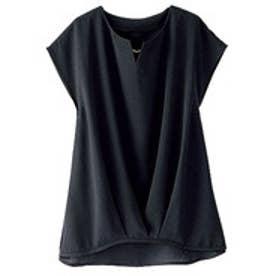 ベルーナ BELLUNA チェーン使い裾タックデザインブラウス (黒)