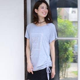リュリュ RyuRyu 裾ギャザーデザインプリントTシャツ (グレー)