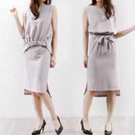 リュリュ RyuRyu 裾ギャザーブラウス&スカートセットアップ (ライトグレー)