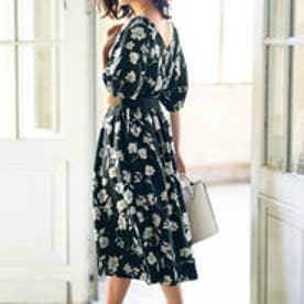 リュリュ RyuRyu ひんやり涼しいカットジョーゼット素材スカート (モノトーン花柄ブラック系)