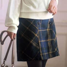リュリュ RyuRyu インナーパンツ付チェック柄台形スカート (ネイビー系チェック)