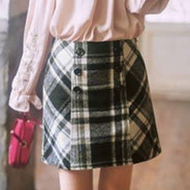 リュリュ RyuRyu インナーパンツ付チェック柄台形スカート (グレー系チェック)