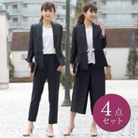 リュリュ RyuRyu スタイリッシュ2パンツ付4点スーツ (ブラックストライプ)