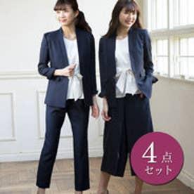 リュリュ RyuRyu スタイリッシュ2パンツ付4点スーツ (ネイビーストライプ)