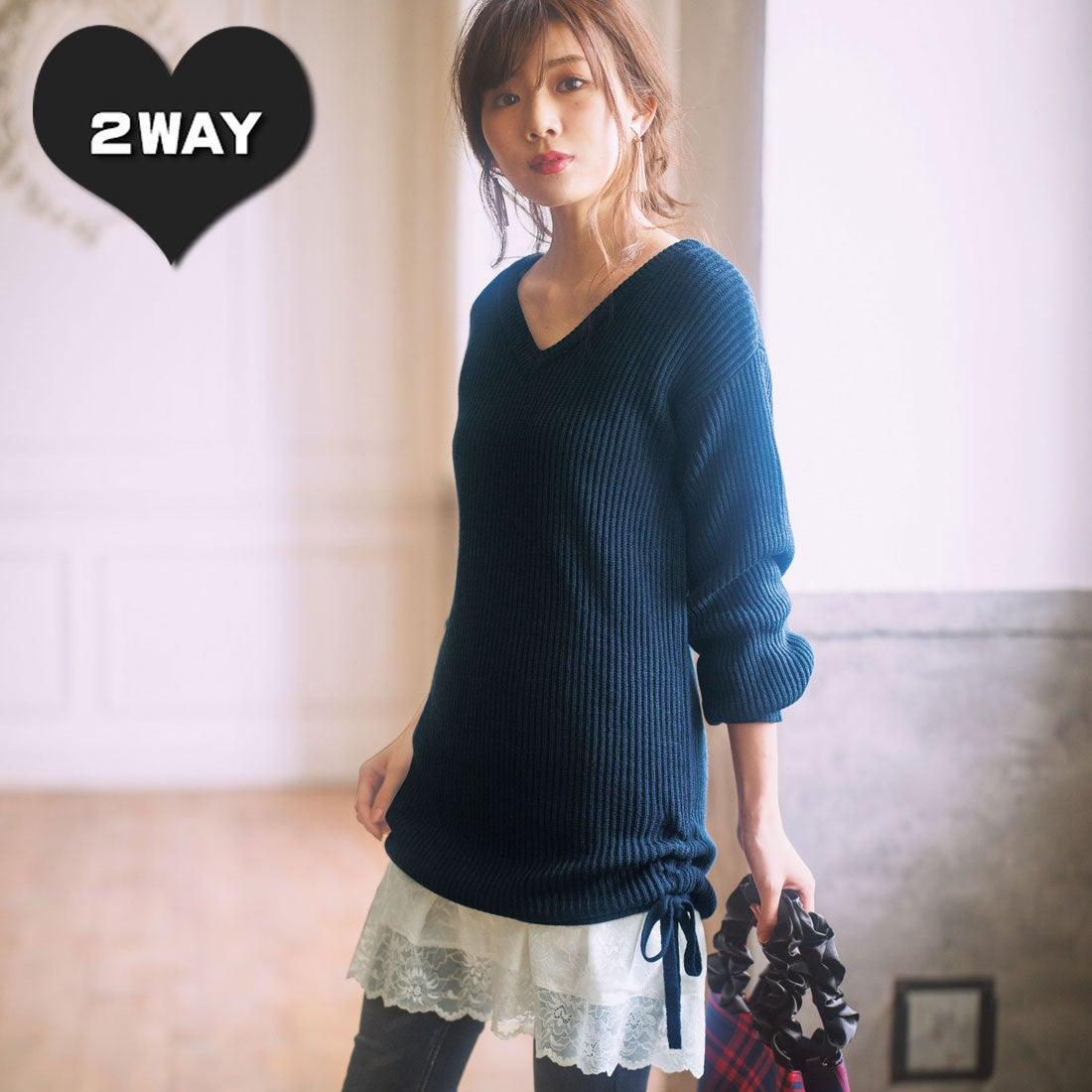 ロコンド 靴とファッションの通販サイトジーラ GeeRA 裾レースキャミワンピ付ニットチュニック (ネイビー)