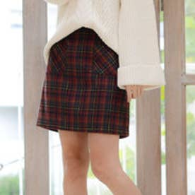 リュリュ RyuRyu チェック柄フロントポケット台形スカート (ボルドーケイ)