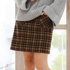 リュリュ RyuRyu チェック柄フロントポケット台形スカート (キャメルケイ)