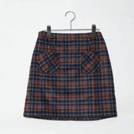 リュリュ RyuRyu チェック柄フロントポケット台形スカート (ネイビーケイ)