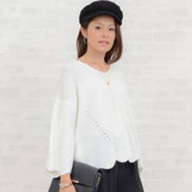 リュリュ RyuRyu 袖&裾スカラップオーバーサイズニット (オフホワイト)