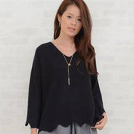 リュリュ RyuRyu 袖&裾スカラップオーバーサイズニット (ブラック)