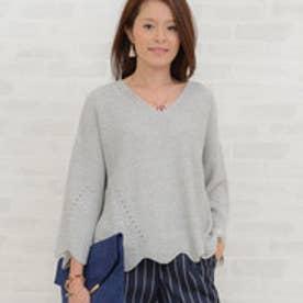 リュリュ RyuRyu 袖&裾スカラップオーバーサイズニット (グレー)