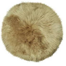 ボーマ BOMA ムートン円形長毛シートクッション 直径35cm (ブラウン)