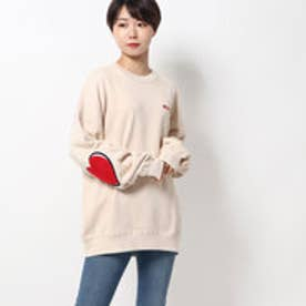 ミルクフェド MILKFED. HEART ELBOW SWEAT TOP (WHITE)