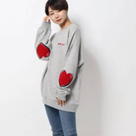 ミルクフェド MILKFED. HEART ELBOW SWEAT TOP (ASH)