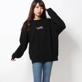 エックスガール X-girl LEOPARD LOGO CREW SWEAT TOP (BLACK)