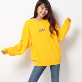 エックスガール X-girl LEOPARD LOGO CREW SWEAT TOP (YELLOW)